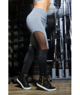 Grey Polyester Leggings, white bands - socks