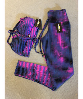 Purple Tie Dye 3D Set - Padded Leggings and Bra
