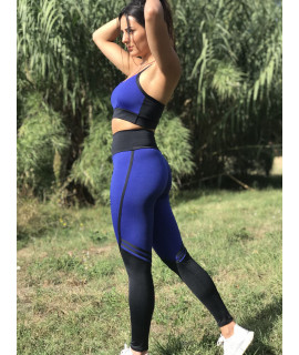 Women's Blue and Black Blue Fitness Set - Legging and Bra