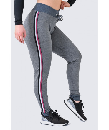 Jogging Style Women's Fitness Leggings - Gray and Black