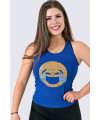 Blue Emoji Sequins Tank Top - Cry of Laughs