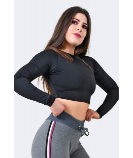 Crop Top Black Long Sleeves