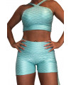 Short Lacets Femme Polyamide Relief - Push Up - Sea Green