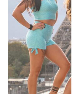 Short Lacets Femme Polyamide Relief - Push Up - Blue Baby