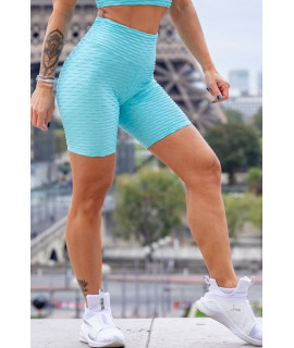 Short Sport Femme Polyamide Relief - Push Up - Blue Baby
