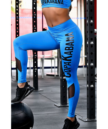 Black Polyamide Sport Leggings - with Clear Tulle