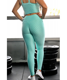 Legging Sport Femme Relief Ciré - Push Up - Sea Green