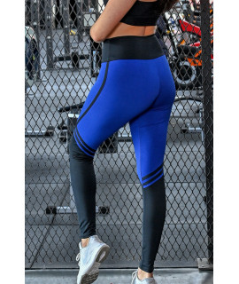 Blue and Black Women's Fitness Leggings.