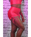 Short Lacets Femme Polyamide Relief - Push Up - Cherry